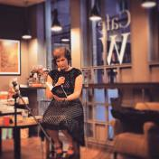 Me reading at Cafe W